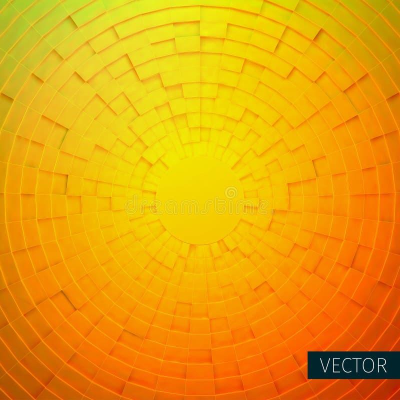 Ακτινωτή διακόσμηση Κυκλικό πλέγμα των τρισδιάστατων κιβωτίων ανασκόπηση δροσερή διανυσματική απεικόνιση