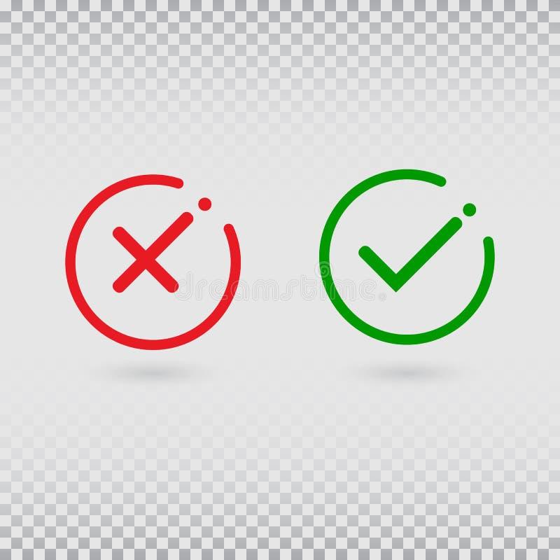 Ακυρώστε την πτώση Σημάδια ελέγχου που τίθενται στο διαφανές υπόβαθρο Ναι ή όχι δεχτείτε και μειωθείτε σύμβολο Πράσινος κρότωνας  διανυσματική απεικόνιση
