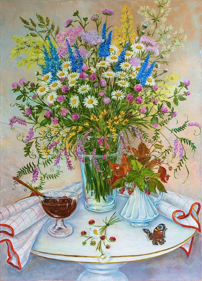 Ακόμα άγρια λουλούδια θερινών τομέων ζωής και δασικές ευώδεις φράουλες αρχική ζωγραφική πετρελαίου απεικόνιση αποθεμάτων