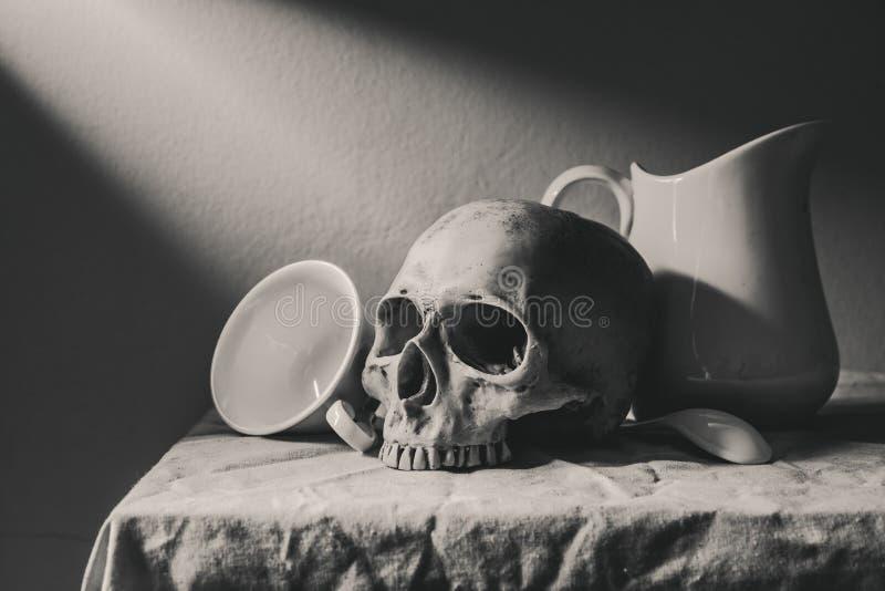 Ακόμα γραπτή φωτογραφία ζωής με το ανθρώπινα κρανίο και το cera στοκ εικόνα με δικαίωμα ελεύθερης χρήσης