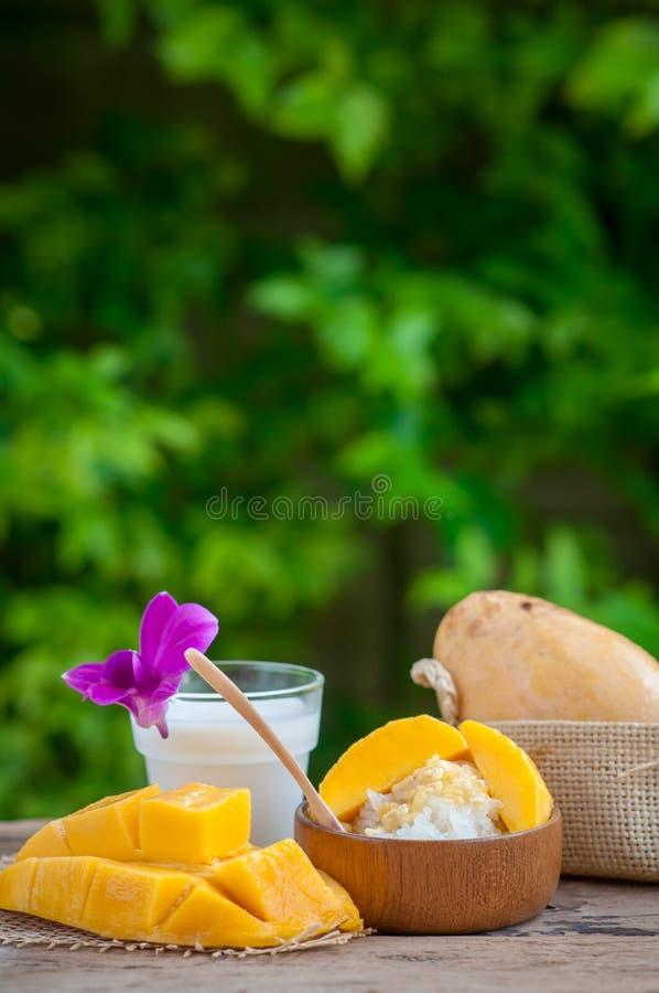 Ακόμα γλυκό κολλώδες ρύζι ζωής με το μάγκο & x28 Barracuda mango& x29  και ομο στοκ εικόνες