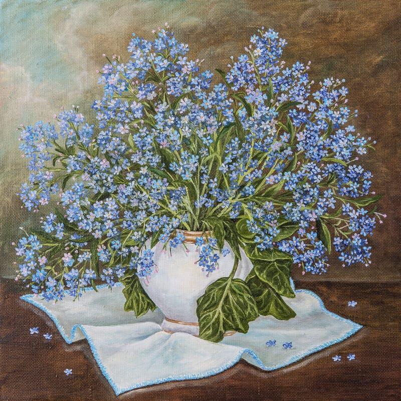 """Ακόμα ζωή με την όμορφη Forget-me-not ανθοδέσμη στο κεραμικό βάζο Τα μπλε λουλούδια άνοιξη """"με ξεχνούν όχι """"Myosotis μέσα ελεύθερη απεικόνιση δικαιώματος"""