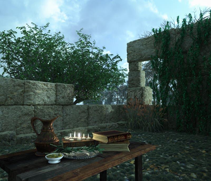 Ακόμα ζωή στη φύση με τις αρχαίες καταστροφές, τα βιβλία, την ελιά και τη στάμνα στοκ εικόνες με δικαίωμα ελεύθερης χρήσης