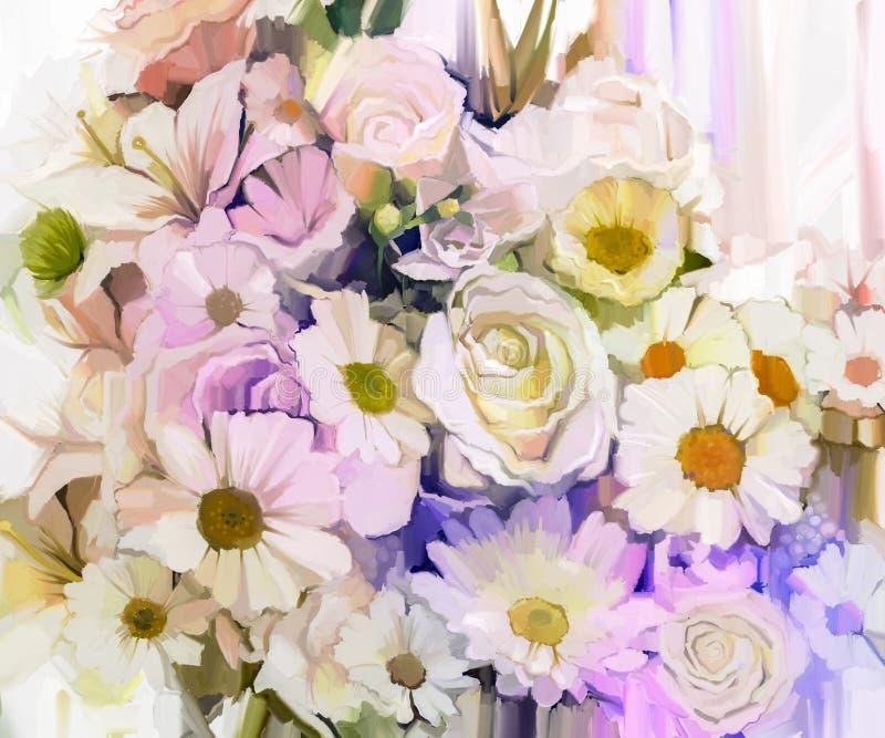 Ακόμα ζωή των άσπρων λουλουδιών χρώματος με το μαλακό ρόδινο και πορφυρό υπόβαθρο δασικός ποταμός ελαιογραφίας τοπίων ελεύθερη απεικόνιση δικαιώματος
