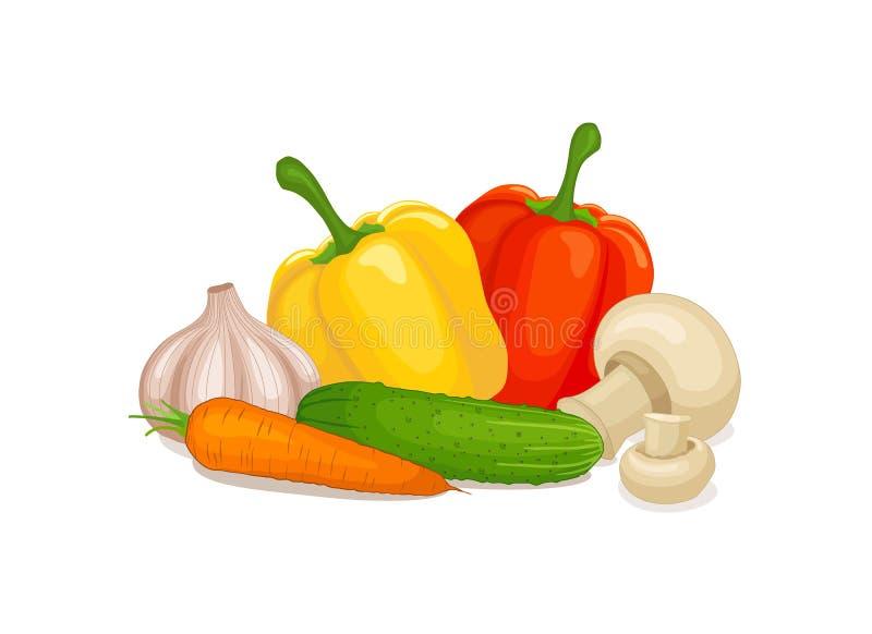 Ακόμα ζωή των λαχανικών Διανυσματική απεικόνιση στο θέμα της υγιούς κατανάλωσης ελεύθερη απεικόνιση δικαιώματος