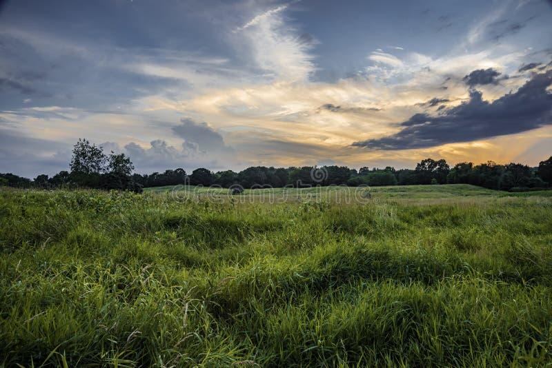 Ακόμα ηλιοβασίλεμα λιβαδιών στοκ εικόνα με δικαίωμα ελεύθερης χρήσης