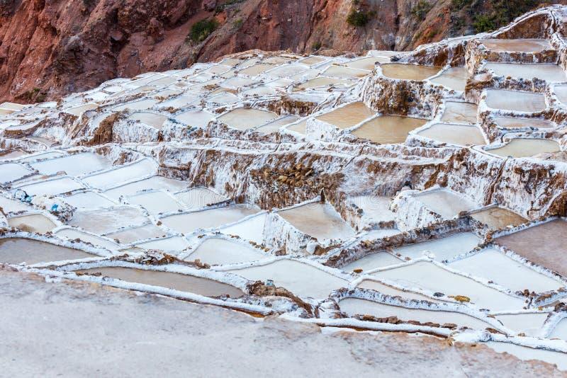 Αλατισμένα τηγάνια Maras στην ιερή κοιλάδα του Περού στοκ εικόνες με δικαίωμα ελεύθερης χρήσης