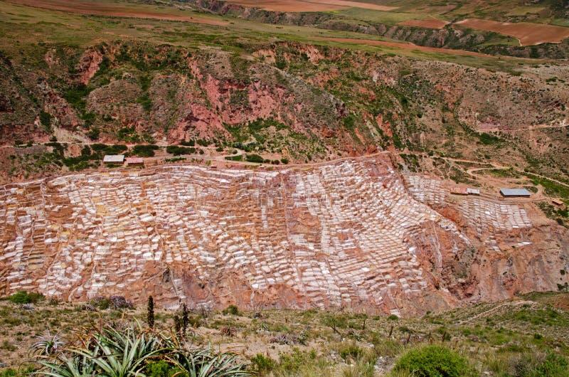Αλατισμένες πανοραμικές λήψεις σε Maras (Salineras de Maras), Περού στοκ φωτογραφία
