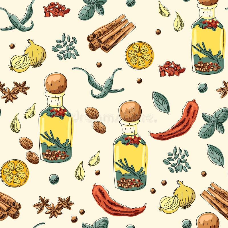 αλατισμένη βανίλια καρυκευμάτων δεντρολιβάνου πιπεριών φύλλων χορταριών σκόρδου κόλπων cardamon ελεύθερη απεικόνιση δικαιώματος