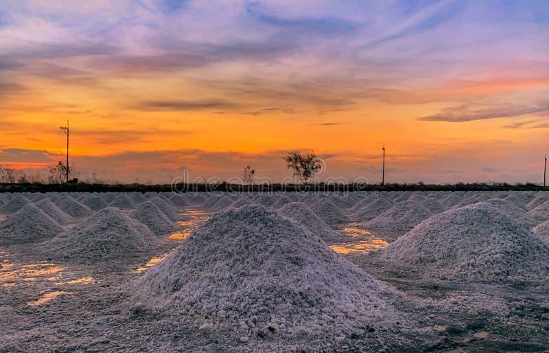 Αλατισμένο αγρόκτημα το πρωί με τον ουρανό ανατολής Οργανικό άλας θάλασσας Εξάτμιση και κρυστάλλωση του θαλάσσιου νερού Πρώτη ύλη στοκ εικόνες