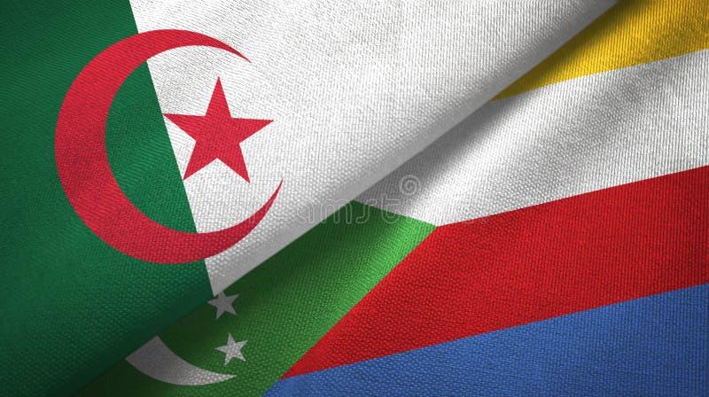 Αλγερία και Κομόρες δύο υφαντικό ύφασμα σημαιών, σύσταση υφάσματος ελεύθερη απεικόνιση δικαιώματος