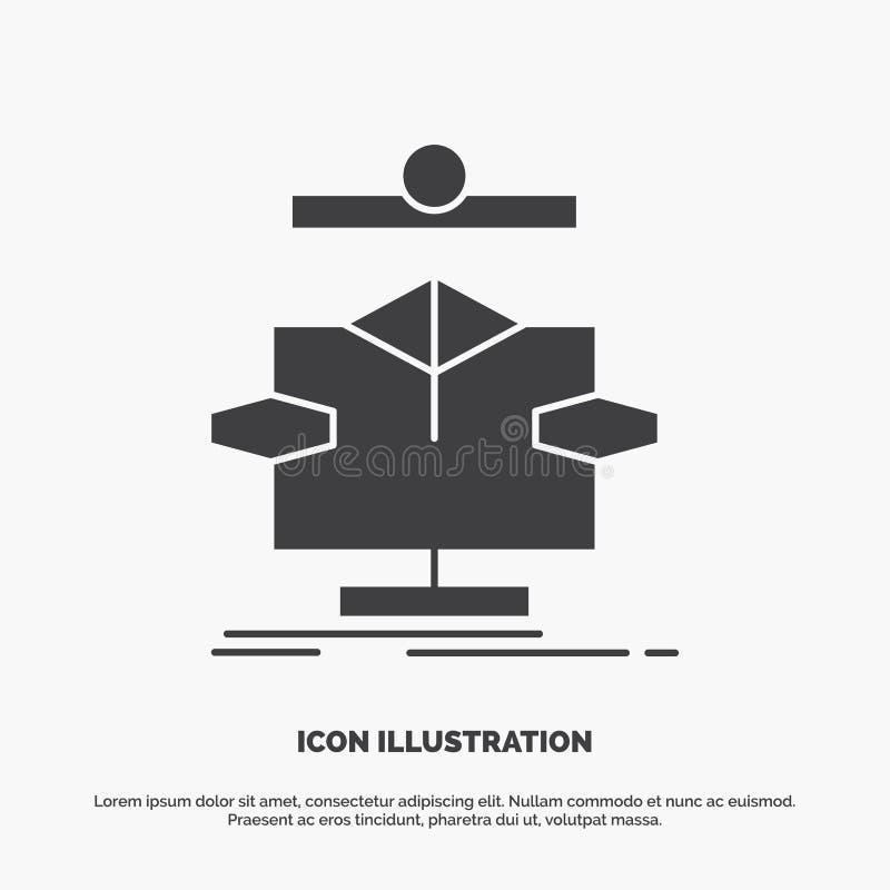 Αλγόριθμος, διάγραμμα, στοιχεία, διάγραμμα, εικονίδιο ροής glyph διανυσματικό γκρίζο σύμβολο για UI και UX, τον ιστοχώρο ή την κι διανυσματική απεικόνιση