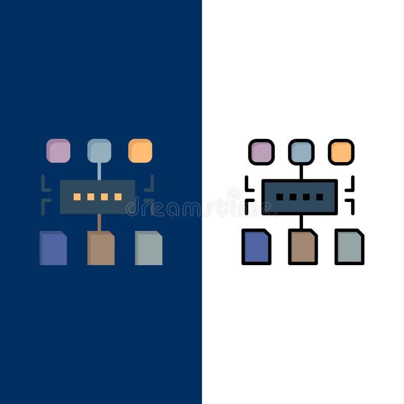 Αλγόριθμος, πρόγραμμα, χρήστης, εικονίδια εγγράφων Επίπεδος και γραμμή γέμισε το καθορισμένο διανυσματικό μπλε υπόβαθρο εικονιδίω ελεύθερη απεικόνιση δικαιώματος
