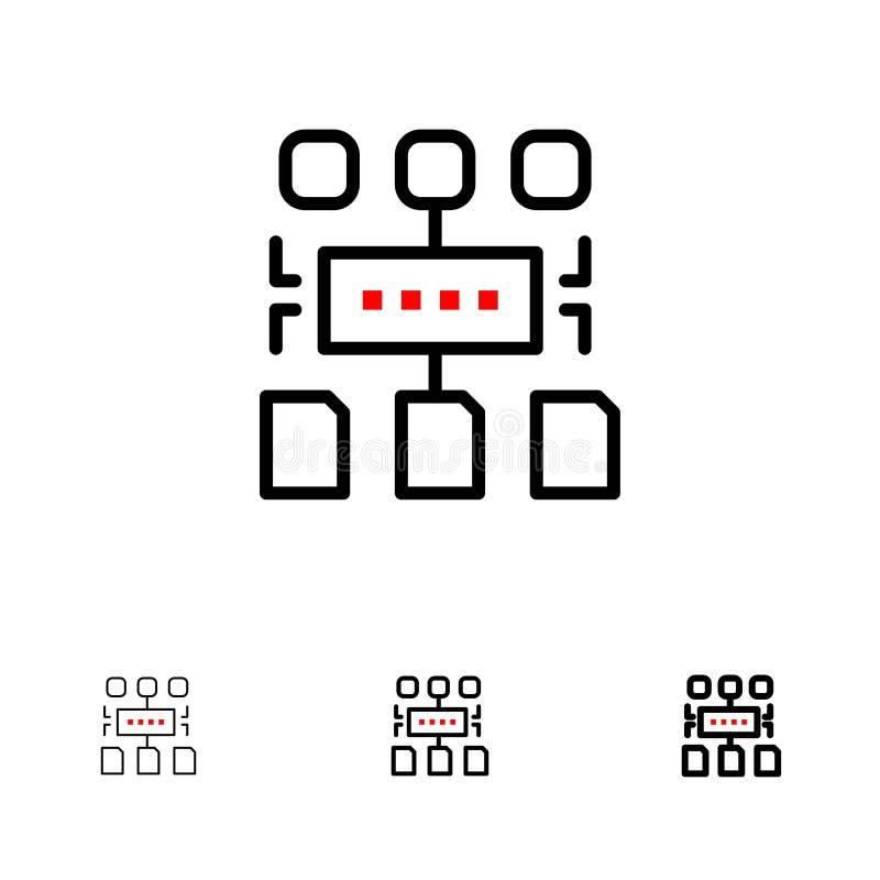 Αλγόριθμος, πρόγραμμα, χρήστης, τολμηρό και λεπτό μαύρο σύνολο εικονιδίων γραμμών εγγράφων ελεύθερη απεικόνιση δικαιώματος