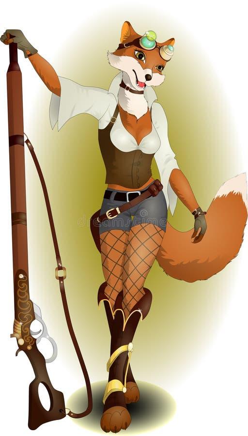 Αλεπού με ένα τουφέκι ελεύθερη απεικόνιση δικαιώματος