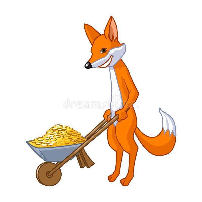 Αλεπού που φέρνει wheelbarrow με το χρυσό ελεύθερη απεικόνιση δικαιώματος