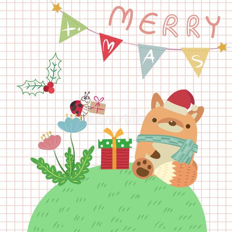 Αλεπού Χριστουγέννων διανυσματική απεικόνιση