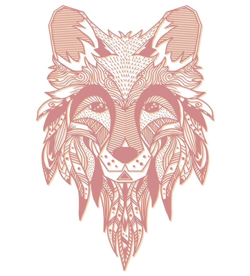 αλεπού Hand-drawn με το εθνικό floral σχέδιο doodle Χρωματίζοντας σελίδα - zendala, σχέδιο για την πνευματική χαλάρωση για τους ε διανυσματική απεικόνιση