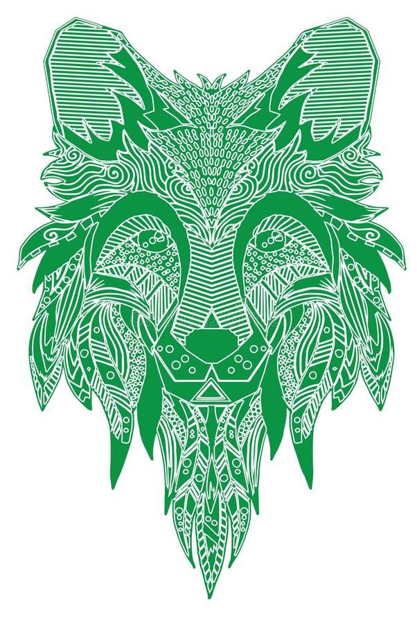 αλεπού Hand-drawn με το εθνικό floral σχέδιο doodle Χρωματίζοντας σελίδα - zendala, σχέδιο για την πνευματική χαλάρωση για τους ε απεικόνιση αποθεμάτων