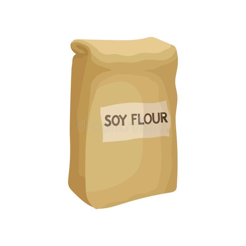 Αλεύρι σόγιας στη συσκευασία εγγράφου, υγιή τρόφιμα διατροφής, vegan διανυσματική απεικόνιση πηγής λευκώματος σε ένα άσπρο υπόβαθ ελεύθερη απεικόνιση δικαιώματος