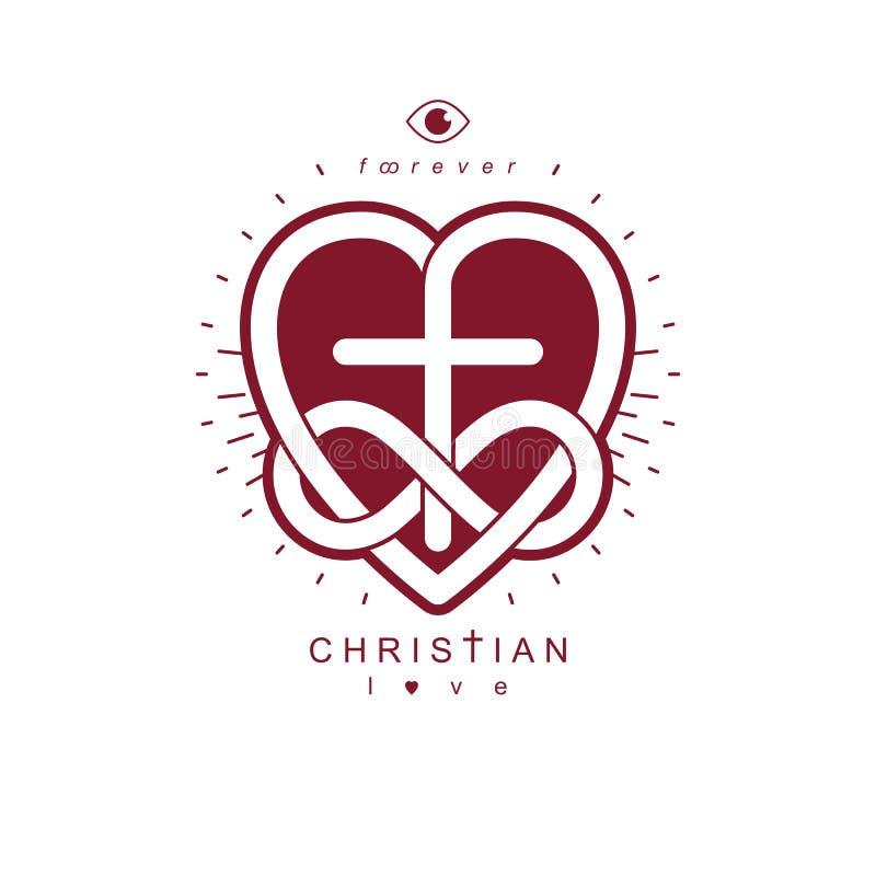 Αληθινές άπειρες χριστιανικές αγάπη και πίστη στο Θεό, διάνυσμα δημιουργικό απεικόνιση αποθεμάτων