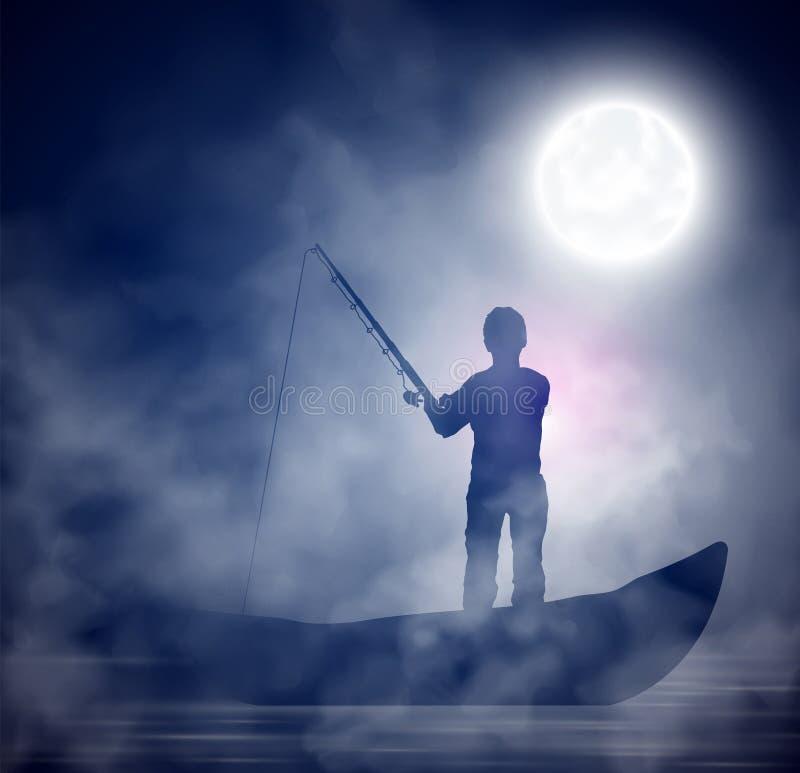 Αλιεία νύχτας απεικόνιση αποθεμάτων