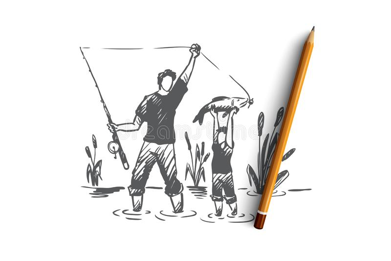 Αλιεία, πατέρας, γιος, οικογενειακή έννοια Συρμένο χέρι απομονωμένο διάνυσμα διανυσματική απεικόνιση