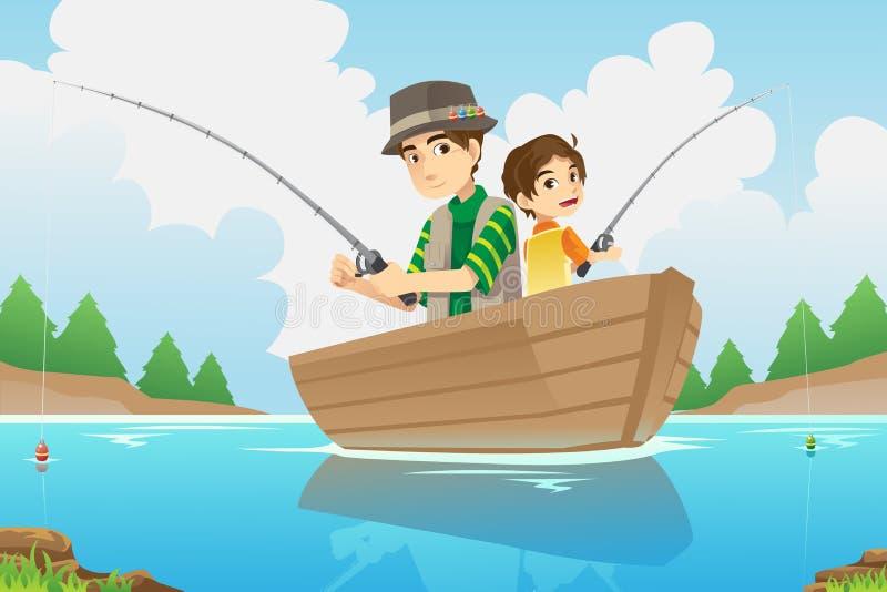 Αλιεία πατέρων και γιων διανυσματική απεικόνιση
