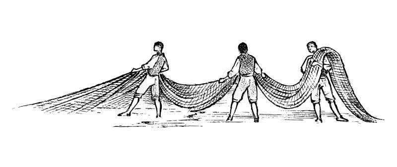 Αλιεία στην Ελλάδα Άτομα με τα δίχτυα του ψαρέματος Συρμένο χέρι χαραγμένο εκλεκτής ποιότητας σκίτσο για την αφίσα, το έμβλημα ή  ελεύθερη απεικόνιση δικαιώματος