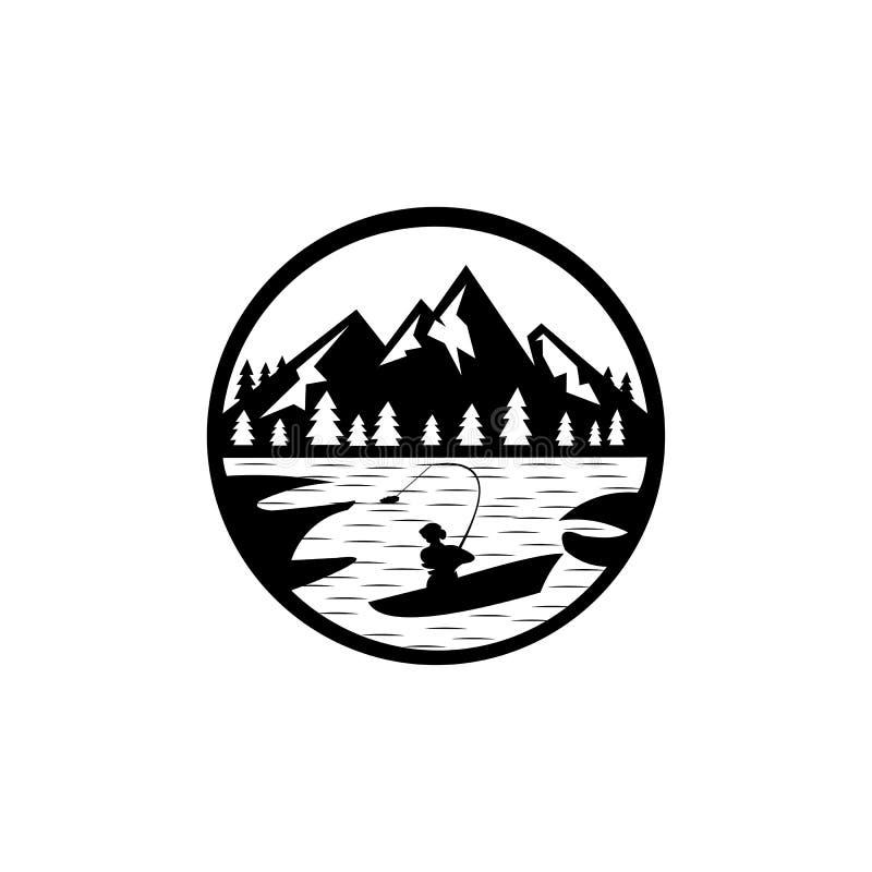 αλιεία στη λίμνη με θέα στο βουνό Φόντο διανύσματος, φύση, εξωτερικό απεικόνιση αποθεμάτων