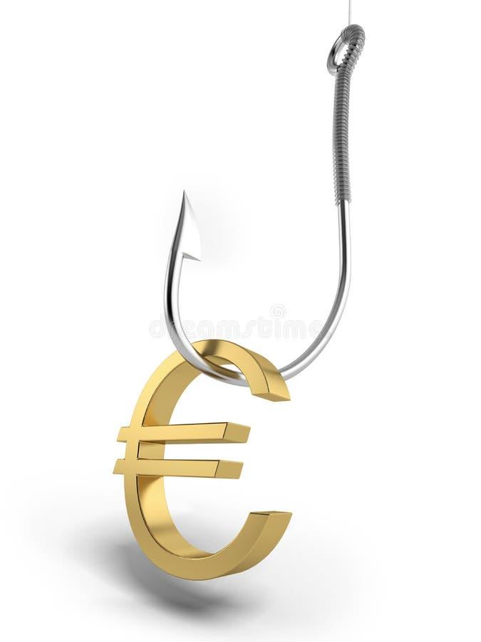 Αλιεία του αγκιστριού με το χρυσό σύμβολο του ευρώ απεικόνιση αποθεμάτων