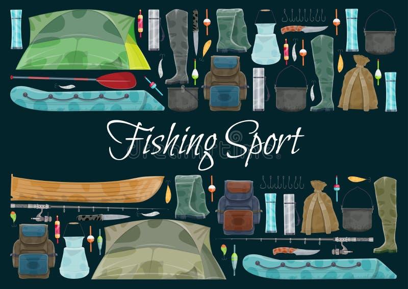 Αλιεία του αθλητικού εμβλήματος με τα σύνορα εξοπλισμού ψαράδων απεικόνιση αποθεμάτων