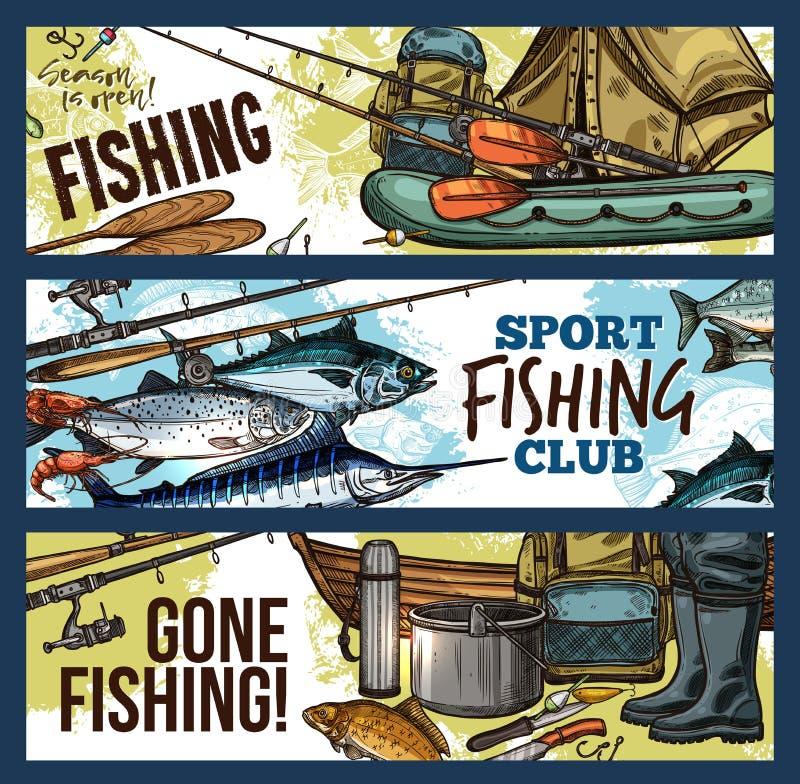 Αλιεία του εμβλήματος με τον εξοπλισμό και τα ψάρια ψαράδων ελεύθερη απεικόνιση δικαιώματος