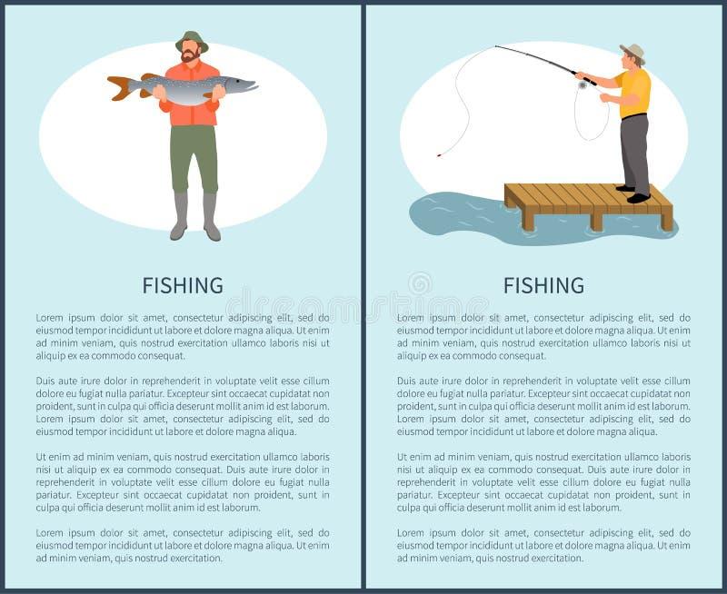 Αλιεία του ιπτάμενου με τον τύπο του Φίσερ και των ψαριών στις διακοπές διανυσματική απεικόνιση