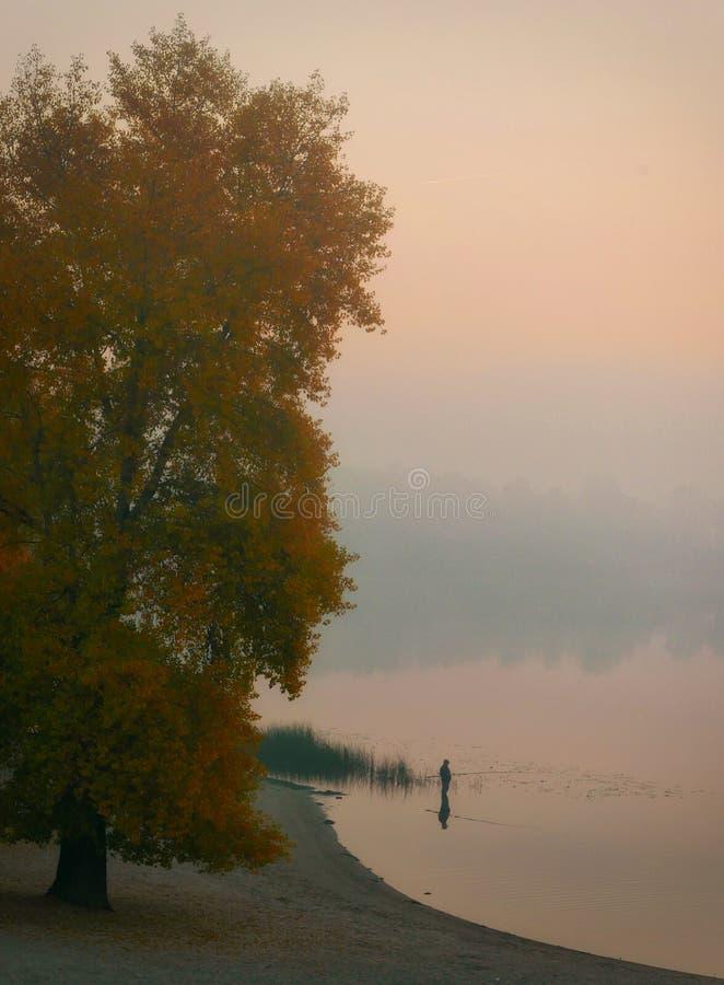 Αλιεία, ψάρια ψαράδων το φθινόπωρο στον ποταμό στοκ φωτογραφία με δικαίωμα ελεύθερης χρήσης