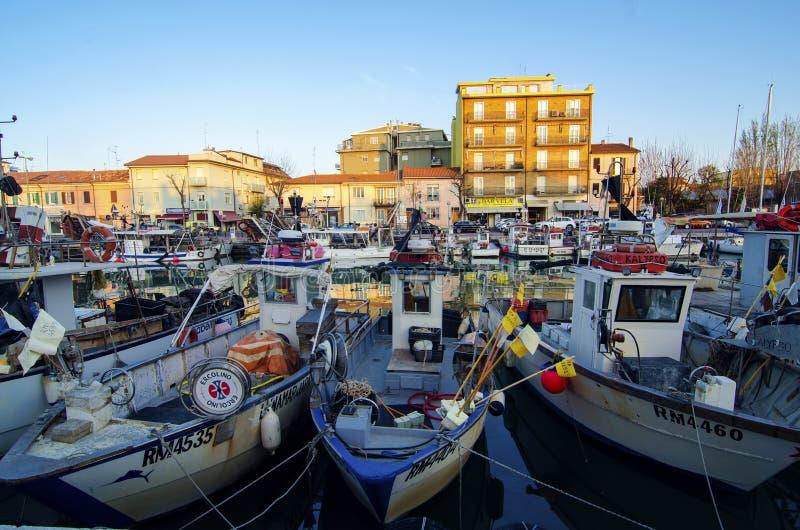 Αλιευτικά σκάφη σε Rimini στοκ φωτογραφία