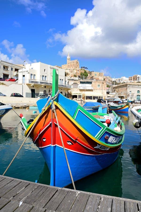 Αλιευτικά σκάφη στο λιμάνι Mgarr, Gozo στοκ εικόνες