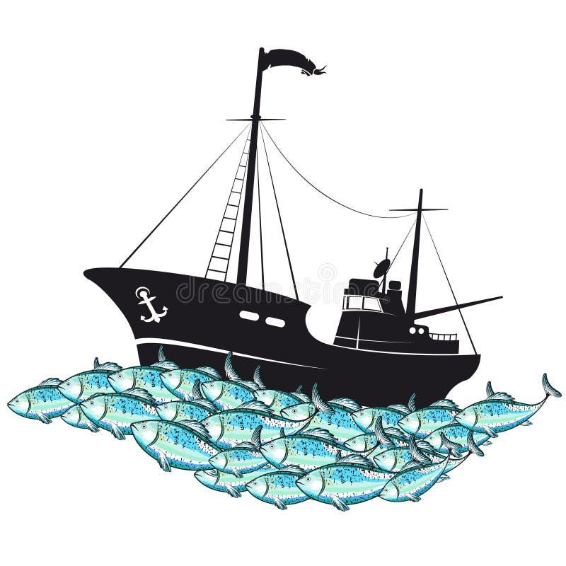 Αλιευτικό σκάφος και σχολείο των ψαριών απεικόνιση αποθεμάτων