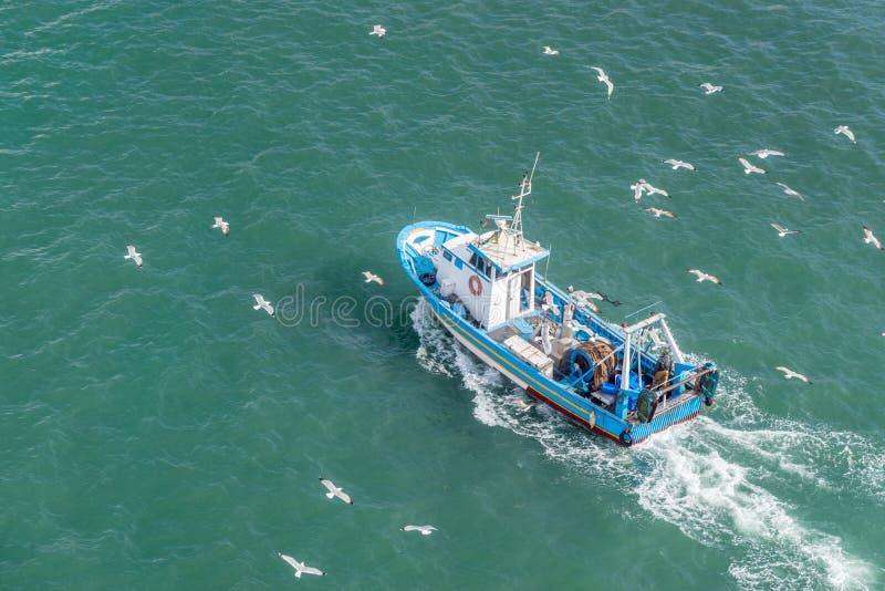 Αλιευτικό σκάφος και seagulls στη θάλασσα Τοπ όψη στοκ φωτογραφία με δικαίωμα ελεύθερης χρήσης