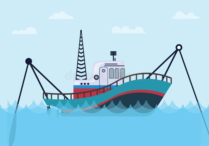 Αλιευτικό σκάφος στη θάλασσα με το μπλε ωκεάνιο και επίπεδο ύφος απεικόνιση αποθεμάτων