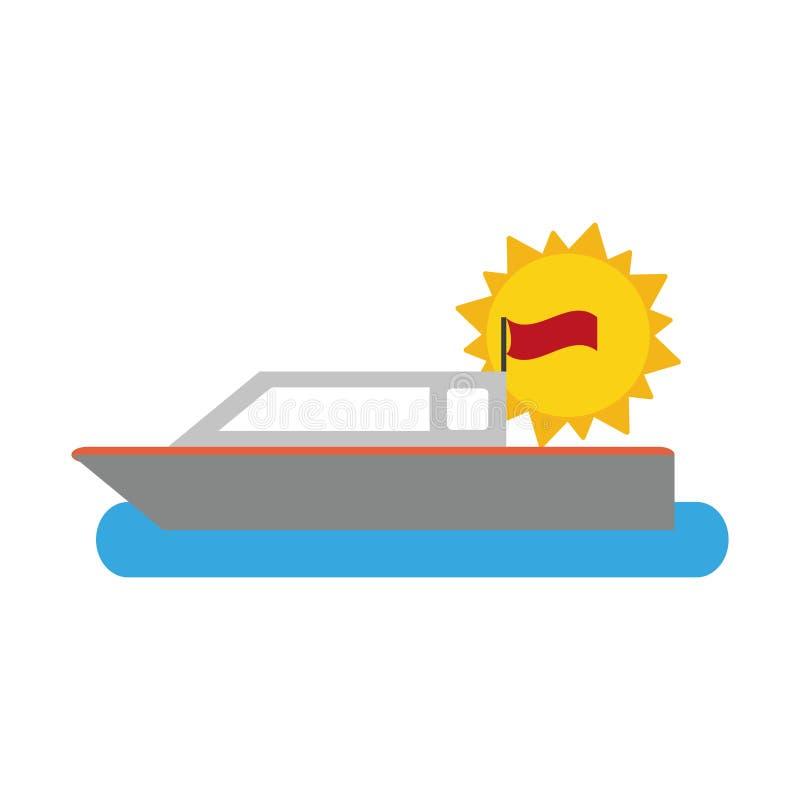 Αλιευτικό σκάφος στη θάλασσα διανυσματική απεικόνιση
