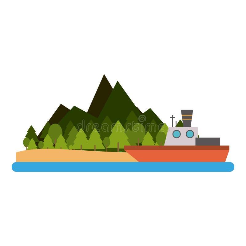 Αλιευτικό σκάφος στο νησί ελεύθερη απεικόνιση δικαιώματος