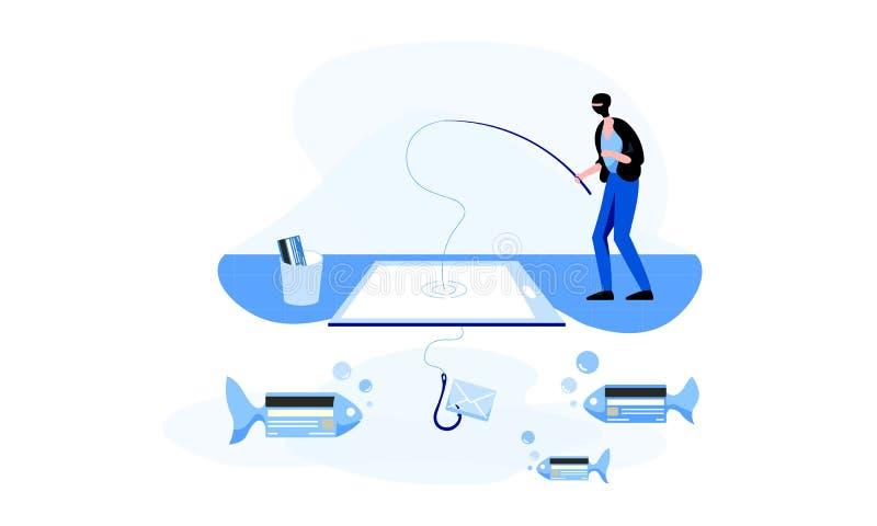 Αλιεύοντας άτομο balaclava, το οποίο προσπαθεί να πιάσει τη προσωπική πληρ ελεύθερη απεικόνιση δικαιώματος