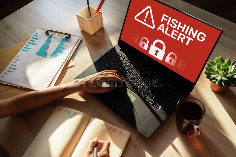 Αλιεύοντας επιφυλακή, έμβλημα ανίχνευσης αναπνοής ασφάλειας Cyber ιών απάτης στην οθόνη Διαδίκτυο και έννοια προστασίας πληροφορι στοκ φωτογραφία με δικαίωμα ελεύθερης χρήσης