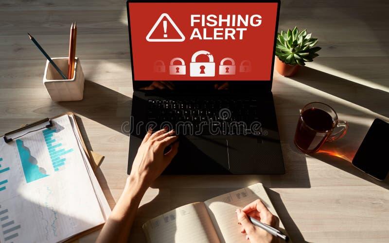 Αλιεύοντας επιφυλακή, απάτη, ιός, έμβλημα ανίχνευσης αναπνοής ασφάλειας Cyber στην οθόνη Έννοια προστασίας πληροφοριών Διαδικτύου στοκ φωτογραφία με δικαίωμα ελεύθερης χρήσης