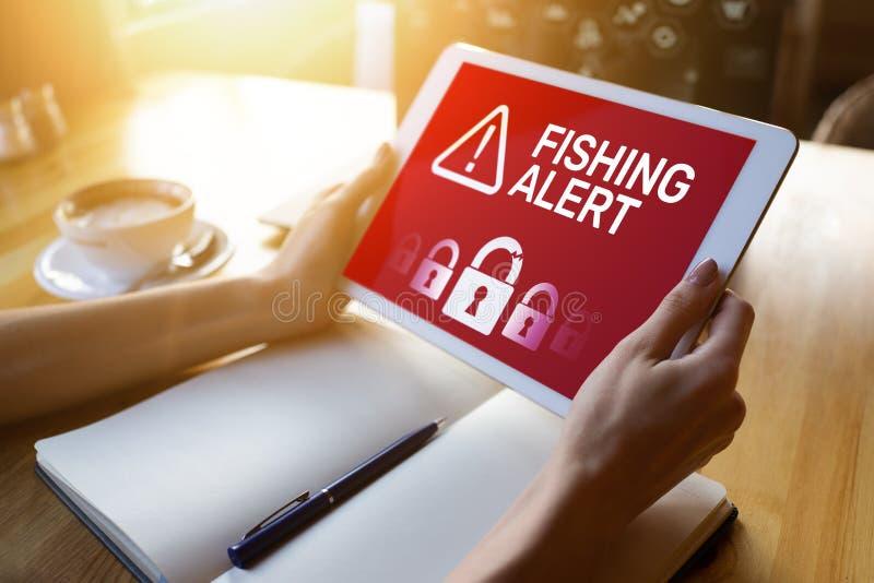 Αλιεύοντας επιφυλακή, απάτη, ιός, έμβλημα ανίχνευσης αναπνοής ασφάλειας Cyber στην οθόνη Διαδίκτυο, έννοια προστασίας πληροφοριών στοκ εικόνα με δικαίωμα ελεύθερης χρήσης