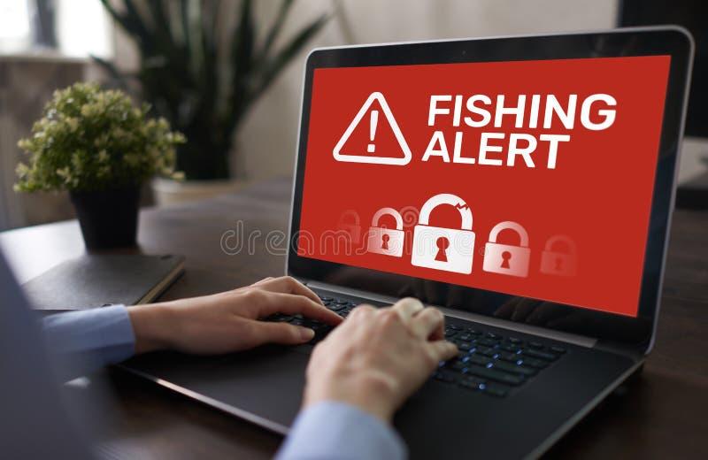 Αλιεύοντας επιφυλακή, απάτη, ιός, έμβλημα ανίχνευσης αναπνοής ασφάλειας Cyber στην οθόνη Έννοια προστασίας πληροφοριών Διαδικτύου στοκ φωτογραφία