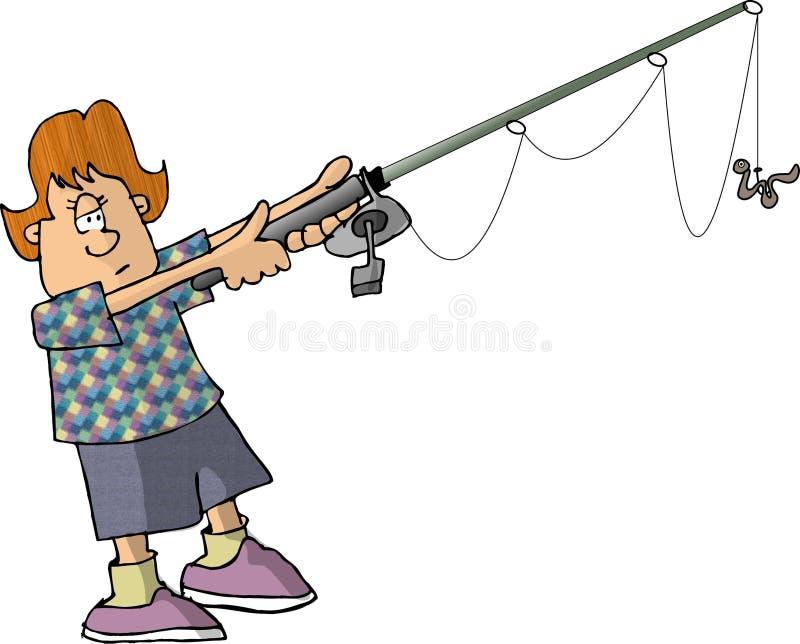 αλιεύοντας κορίτσι απεικόνιση αποθεμάτων