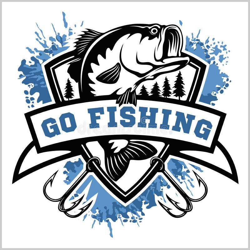Αλιεύοντας λογότυπο Βαθιά ψάρια με το έμβλημα λεσχών r απεικόνιση αποθεμάτων