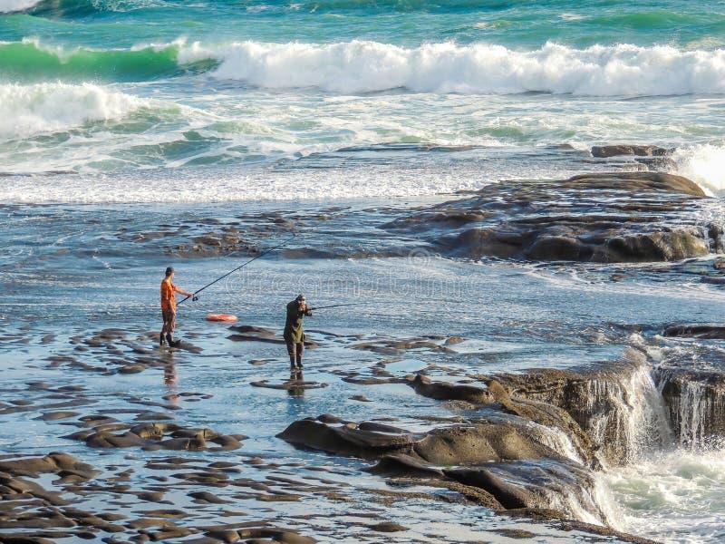 Αλιεύοντας στο Maori κόλπο Maukatia και την παραλία Muriwai, Ώκλαντ, Νέα Ζηλανδία στοκ εικόνες με δικαίωμα ελεύθερης χρήσης